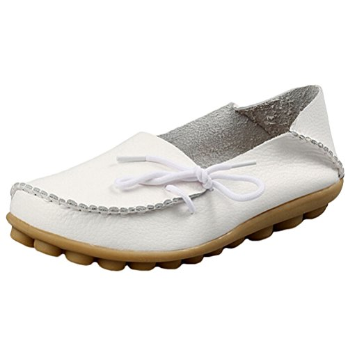 MatchLife Women Vintage Leather Flat Pump Casual Shoes White