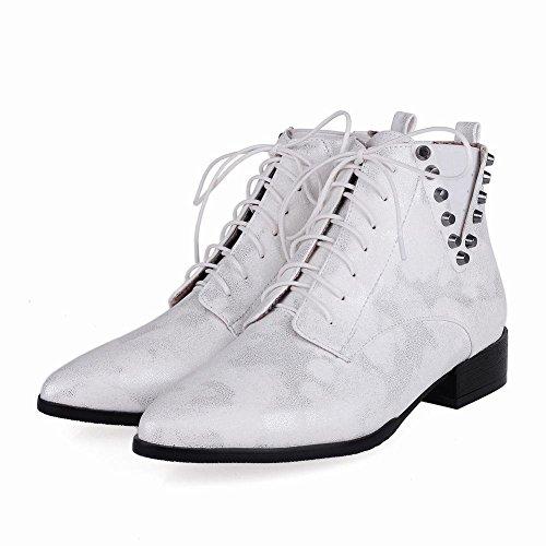 MissSaSa Damen simpel Chunky heel Pointed Toe Ankle-Pumps mit Nieten und Schnürsenkel Weiß