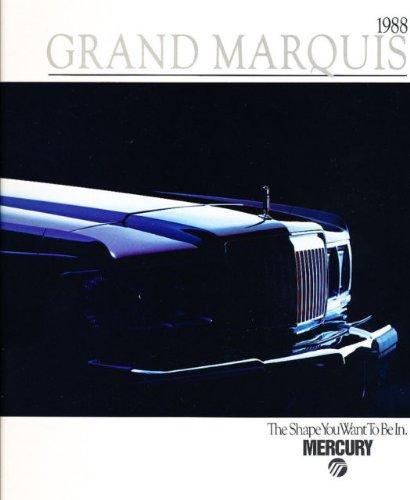 1988 MERCURY GRAND MARQUIS PRESTIGE COLOR SALES BROCHURE - P-5296 - EXCELLENT ORIGINAL - USA !!