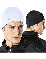 TSLA Men and Women (Pack of 1, 2) Thermal Fleece Lined Skull Cap, Winter Ski Cycling Cap Under Helmet Liner, Cold Weather Running Beanie Hat