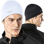 TSLA 1 or 2 Pack Men and Women Thermal Fleece Skull Cap, Winter Ski Cycling Under Helmet Liner, Running Beanie