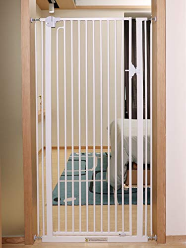 Pet Cat Fence Door/Pet Gate for Dogs Cats Extra High Indoor Pet Dog Guardrail Pressure Mount Fit Stairway Or Doorway 74-146cm, Easy Open (Size : Width 82-86cm)