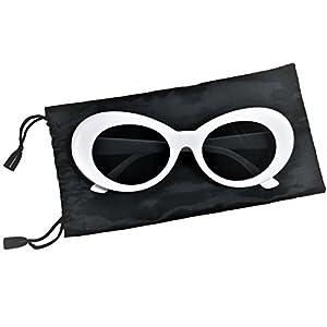 Clout Goggle Thick Retro Oval Sunglasses Fashionable Black Bag Stylish Colors (White/Black)