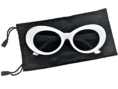 Clout Goggle Thick Retro Oval Sunglasses Fashionable Black Bag Stylish Colors - White Sunglasses Oval