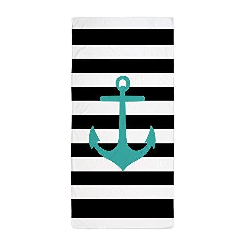 CafePress - Aqua Nautical Anchor Black Stripes Beach Towel -