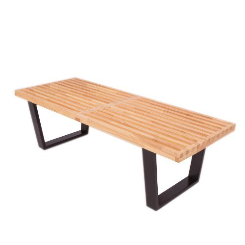 LeisureMod Mid-Century Lynwood Platform Bench - 4 Feet (Natural Wood)