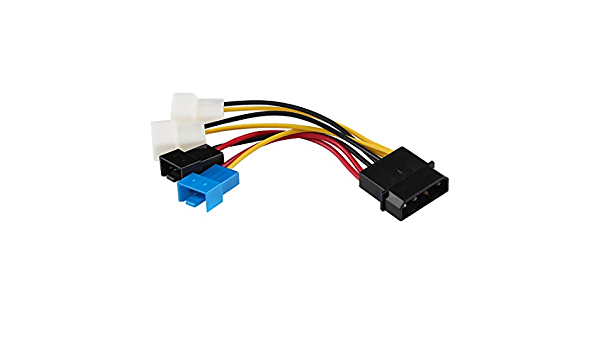 ZQ House Big 4 Pin to 4 x 2 Pin CPU Fan PWM Deceleration Cable Temperature Control Drop Speed Cord 10cm Durable Length