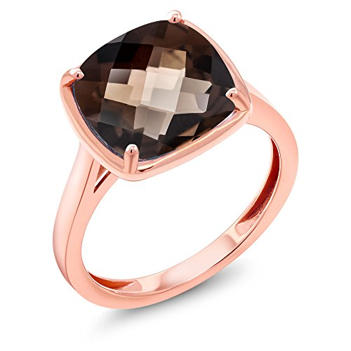 Smoky Quartz Cut Checkerboard Cushion (3.07 Ct Cushion Checkerboard Brown Smoky Quartz 14K Rose Gold Ring (Ring Size 7))