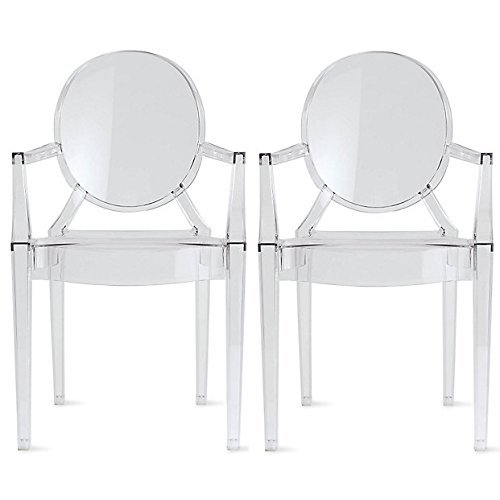set of 2 philippe starck louis xvi ghost chair with arms 796551174399 ebay. Black Bedroom Furniture Sets. Home Design Ideas