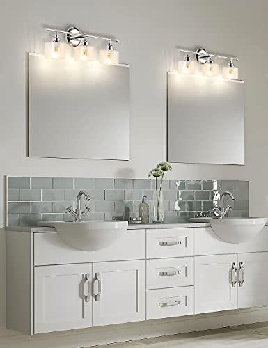Desoop Modern Vanity Lights for Bathroom 3-Light Indoor Wall Sconces Lamps Chrome with Clear Glass Shade Bathroom Light Fixtures for Mirror Kitchen Living Room Workshop Lighting (E26 Base)