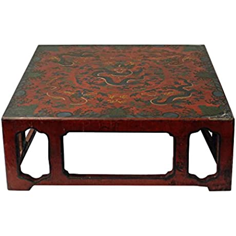 Chinese Golden Brown Dragons Scenery Red Lacquer Square Display Stand Acs3347