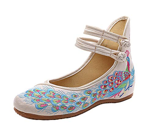 (AvaCostume Peacock Embroidery Spangly Beading Girls Platform Prom Dress Shoes, Beige, 40)