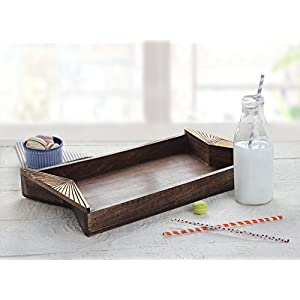 storeindya Serving Tray for Parties Handmade Natural Painting Breakfast Trays Wooden Serving Platter for Tea Snack Desert Kitchen Dining Parties Serveware Accessories (Gold Metallic Finish)