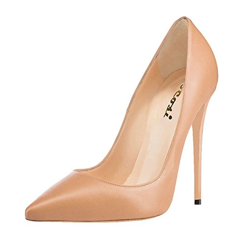 Women's High Heel Stiletto Pointed Toe Pumps(Apricot) - 9
