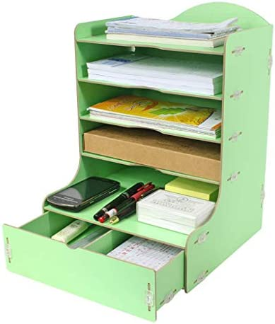 WDX Aktenhalter aus Holz, Schreibtisch-Aufbewahrungsbox mit mehreren Ebenen B