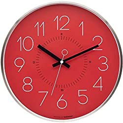 Marksson The Kinney Red Wall Clock,12 Inch Quartz Non-Ticking Silent | Stainless Steel Wall Clock | High End Mechanism | Perfect for Kitchen, Office, Lounge Room and Bedroom (Tabasco Red)