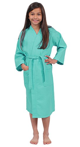 Turkuoise Girls Waffle Robe, Spa Party Bathrobe Made in Turkey (Large (Ages 7-10), Aqua) by Turkuoise