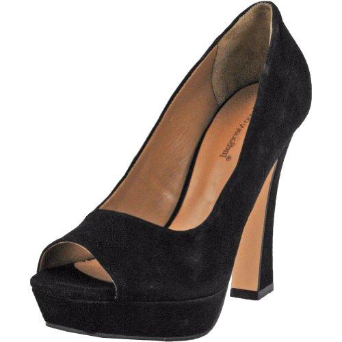 Brazil Pumps (Bruno Menegatti 2232306BL Women's Black Nobuck Leather Peep-Toe Platform Pump 10 US)