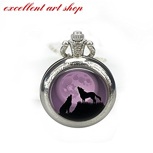 (Purple Pocket Watch Glass Tile Pocket Watch Wolf Pocket Watch Moon Pocket Watch Glass Tile Pocket Watch Animal Pocket Watch)