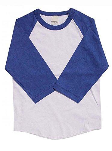 Kids Raglan T Shirts 3/4 Baseball Sleeves Baby (S (5-6Yrs 6T), White / Royal Blue)