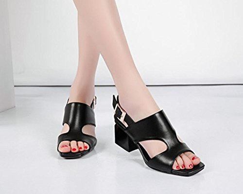 1 sandals leather women's toe new shoes heels female 2017 with rough summer ZPqpwzWa