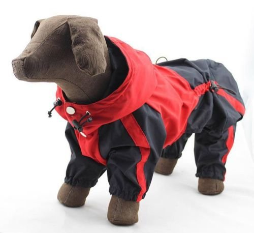 Hundebekleidung Klein Mittel Gross Groesse Hunderasse-Heavy Duty Raincoat W Hoodies Rot