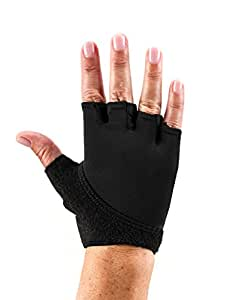 ToeSox Grip Gloves for Pilates, Yoga, Dance and Cross Training (Black) Small