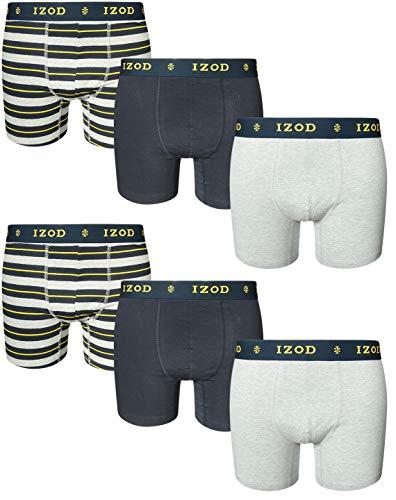 IZOD Men\'s Cotton Stretch Boxer Briefs (6 Pack), Navy/Stripes/Grey, X-Large'