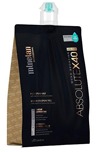 MineTan Spray Tan Solution - Absolute X40 Pro Spray Mist - Darkest Ultra Dark Professional 1 Hour Express Tan, 33.8 fl oz (Best Tanning Solution Australia)