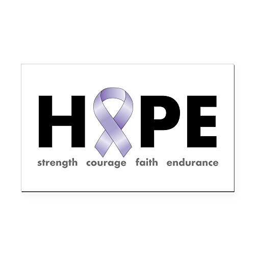 CafePress - Lavender/Periwinkle Ribbon Hope Rectangle Car Magn - Rectangle Car Magnet, Magnetic Bumper -