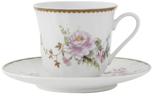 Ciera Timeless Rose Porcelain Tea Cup and Saucer with Gold Trim, Set of 6; Vintage Floral