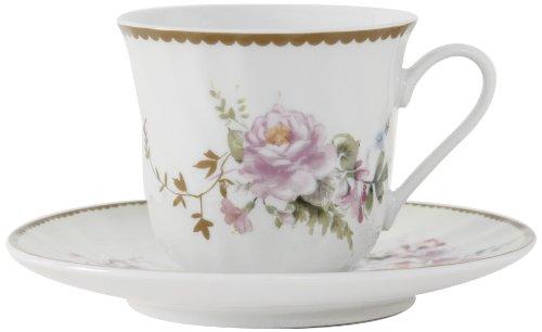 Ciera Timeless Rose Porcelain Tea Cup and Saucer with Gold Trim, Set of 6; Vintage Floral (Cup Saucer Vintage)