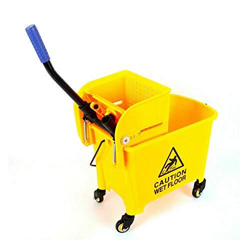 20 l gele poetsemmer met pers, professionele schoonmaakwagen, mopemmer