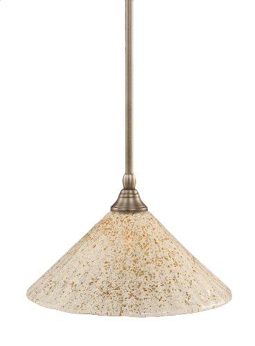 Toltec Lighting 23-BN-702 Stem Mini-Pendant Light Brushed Nickel Finish with Gold Ice Glass, 12-Inch