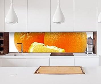 Aufkleber Kuchenruckwand Orange Kuche Obst Apfelsine Blatt Folie