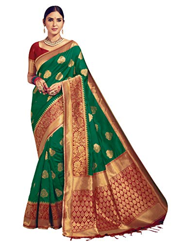(Sarees for Women Banarasi Art Silk Woven Saree l Indian Ethnic Wedding Gift Sari with Unstitched Blouse Green)