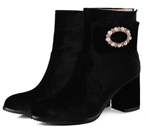 Heels Zipper Black Rhinestones Bows Back Boots Chunky Mid IDIFU Ankle Vintage Womens nxUYR