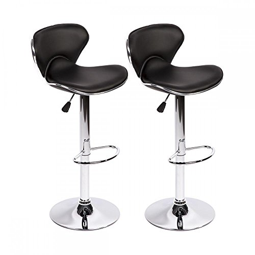 - Bar Stools Swivel with Back PU Leather Height Adjustable Kitchen Counter Dining Chairs Set of 2, Black, Butterfly Bar Stool