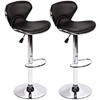 SET of 2 Bar Stools PU Leather Modern Hydraulic Swivel Dinning Chair