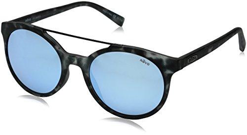 Revo Unisex RE 1041 Aston Round Polarized UV Protection Sunglasses, Matte/Black Tortoise Frame Blue Water -