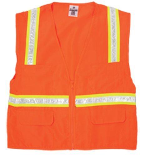 - ML Kishigo 1091 Polyester Economy Multi-Pocket Surveyors Vest, 2X, Orange by ML Kishigo