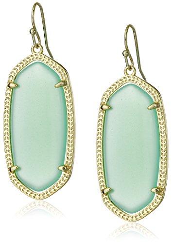 Kendra Scott Signature Elle Earrings in Chalcedony Glass and Gold (Drop Glass Dangling Earrings)