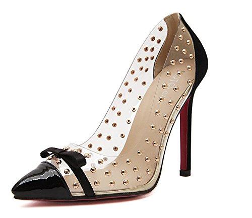 ZHZNVX Pajarita solo zapatos de tacón alto de transparencias remache luz de punta tacón alto de zapato único black