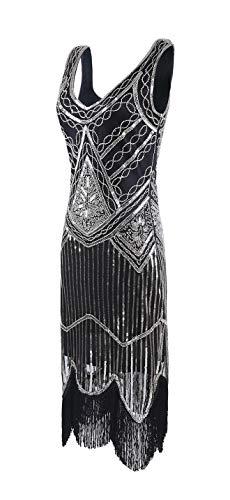 De B La Elegante Mujer Década Mogu Vintage 1920 Plateado Vestido Tzwtgxq