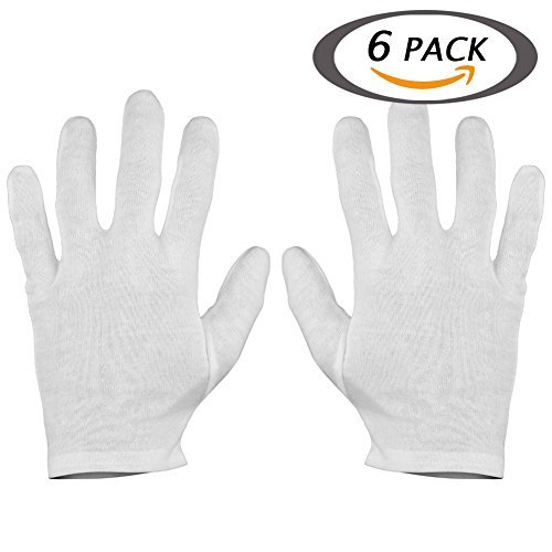 Selizo 6 Pairs White Cotton Gloves For Cosmetic Moisturizing Dry Hands Coin Jewelry Inspection Hand Spa Medium Size