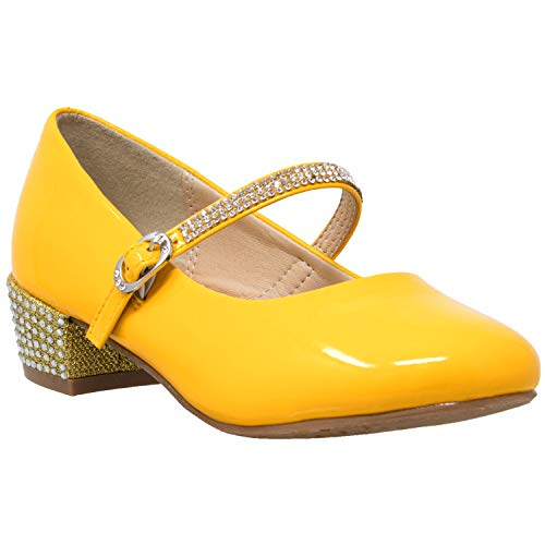 Kids Dress Shoes Rhinestone Ankle Strap Mary Jane Pumps Mustard SZ 11