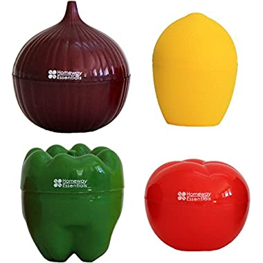 Homeway Essentials Food Savers - Set of 4 Vegetable Keepers - Onion Saver, Tomato Saver, Lemon Saver, Bell Pepper Saver
