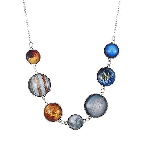 JczR.Y Universe Solar Nine Planets Pendant Necklace Natural Gemstone Cosmic Star Necklace Sweater Chain Jewelry for Women
