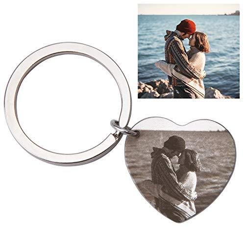 Fanery Sue Personalized Custom Photo Engraved Heart Shape Dog Tag Name Keychain Key Tags Keyring ID Tag(Custom Photo)