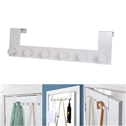 Chef Kitchen Tools Over Door Hook - 6 Coat Hooks Pegs - No Drill Towel Rack for Bathroom Storage Closet - Behind The Door Organizer Clothes Rack - Shoe Or Hat Holder - Office Cubicle Purse Hanger
